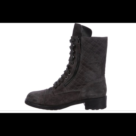 Quilted Suede Combat Boots   Poshmark
